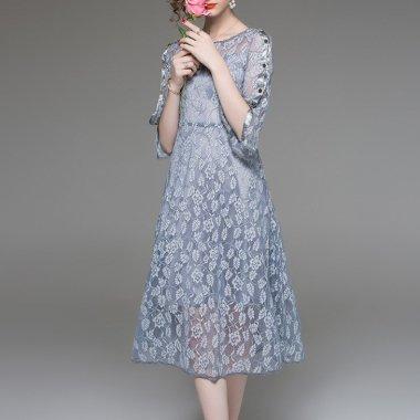 結婚式や二次会に フラワー&リーフの総レースがエレガントなミモレ丈の袖ありドレス ワンピース