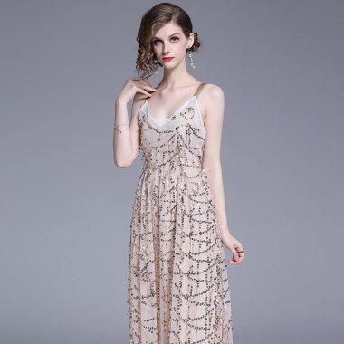 バッククロスがおしゃれ スパンコールとチュールで華やかなキャミソールワンピース ドレス
