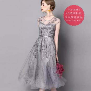 【即納】結婚式に 褒められワンピ ふんわりグレーの刺繍レース膝下ドレス