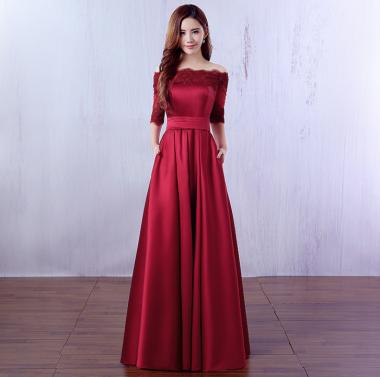 結婚式や発表会に 上品カラーのツヤ感がエレガントなオフショルダーの袖ありロングドレス 3色