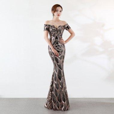 発表会の衣装に 煌スパンコールの総柄がゴージャスなオフショルダーのボディコンロングドレス 4色