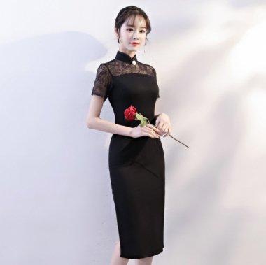 上品セクシーなデザイン 繊細レースで高見えな黒の襟付き膝丈タイトドレス