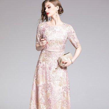 上品で華やかに ボタニカル刺繍が大人かわいい袖ありカジュアルドレス ワンピース