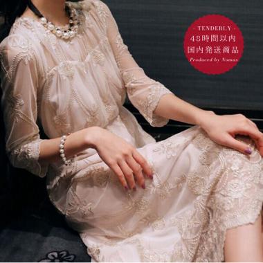【即納】お呼ばれからデートまで 透け感シフォンの花柄刺繍がオトナかわいい袖ありワンピース