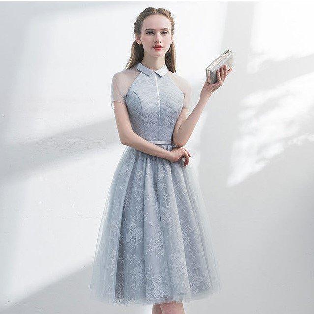 お呼ばれドレスにおすすめ 花柄レースとシースルーで上品かわいい襟付きフレアワンピース カジュアルドレス