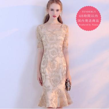 【即納】結婚式や二次会に 上品カラーの総柄がエレガントなマーメイドラインの膝丈袖ありドレス