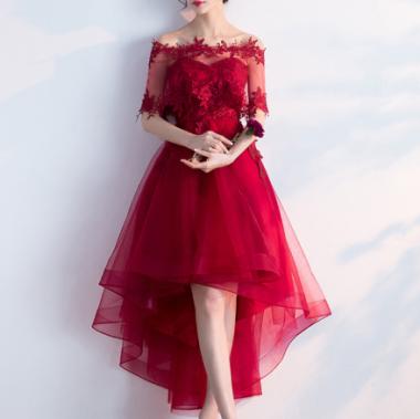 クリスマス パーティー等に フィッシュテールのケープオフショルダー2wayチュール赤ドレス