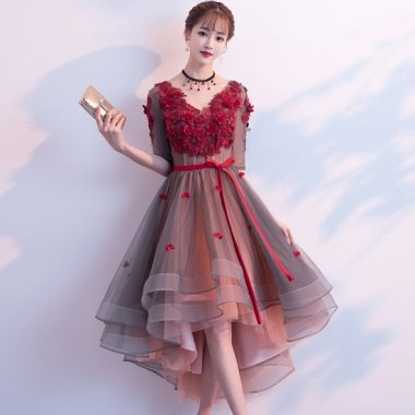 クリスマス パーティー等に 花飾りが華やかな袖ありフィッシュテール 袖ありドレス