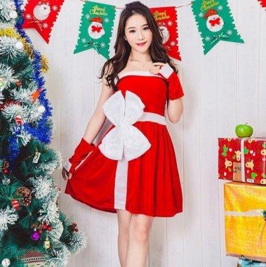 クリスマス パーティーのコスプレ衣装に 大っきなリボンがかわいいベアトップ サンタ