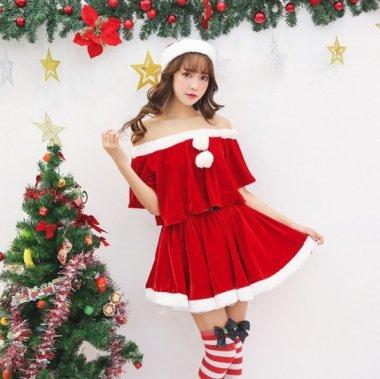 クリスマス パーティーのコスプレ衣装に キュートでかわいいオフショルダーとフリルのサンタクロース