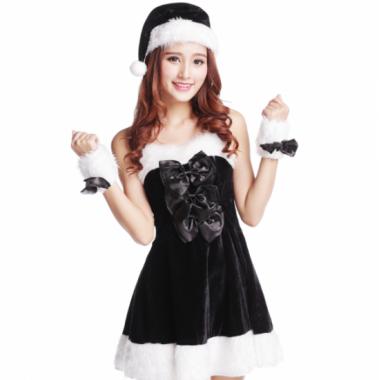 クリスマス パーティーのコスプレ衣装に リボンがかわいい黒いサンタクロース