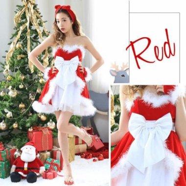 クリスマス パーティーのコスプレ衣装に 大きなリボンとレイヤードがかわいいサンタクロース