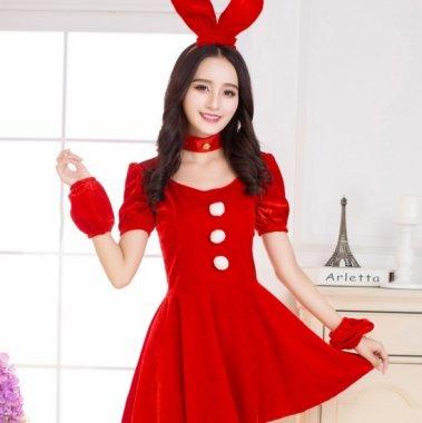 クリスマス パーティーのコスプレ衣装に 真っ赤な半袖バニー サンタ