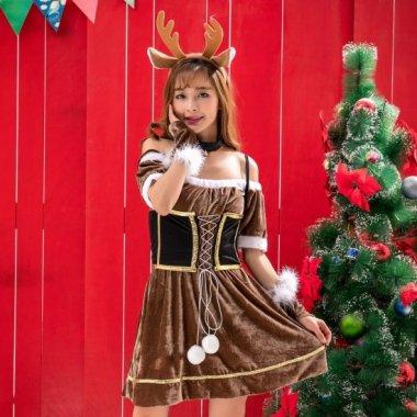 クリスマス パーティーのコスプレ衣装に ウエストマークがかわいいトナカイ