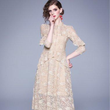 上品カラーの総レースでとフリルで大人かわいい袖ありロングワンピース ドレス