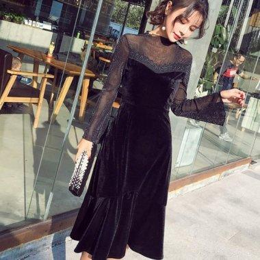 ラメ入りシースルーが大人かわいいマーメードスカートの長袖ワンピース