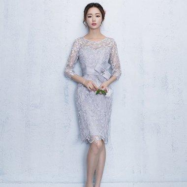 【即納】結婚式やパーティーに 上品カラーの刺繍レースがエレガントな膝丈の袖ありタイトドレス/Sサイズ