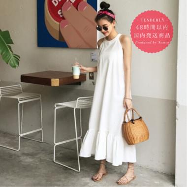 【即納】ナチュラルでシンプルなホワイトカラーが大人かわいい白ロングワンピース