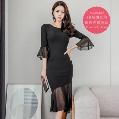 【即納】結婚式やお呼ばれに シースルーのフレア袖がエレガントな黒の袖ありマーメイドドレス