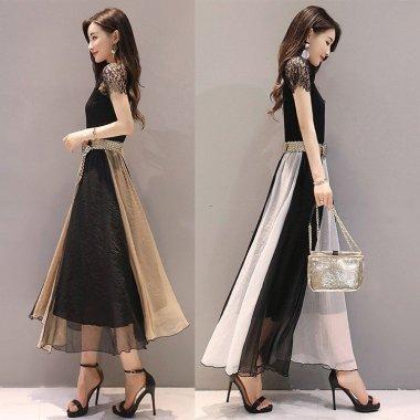 謝恩会やお呼ばれに バイカラーのフレアスカートが上品かわいいロングワンピース 2色