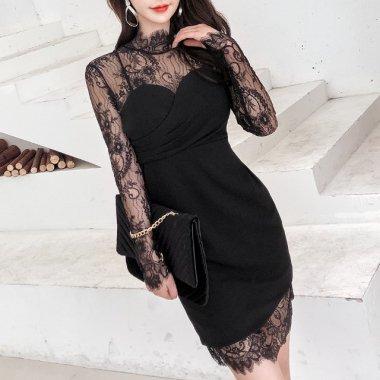 タイトな美シルエットで大人フェミニン 花柄刺繍レースで上品かわいい長袖カジュアルミニドレス