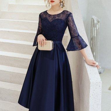 結婚式や謝恩会に 花柄レースが大人かわいいフレアスリーブの上品ロングドレス ワンピース 3色