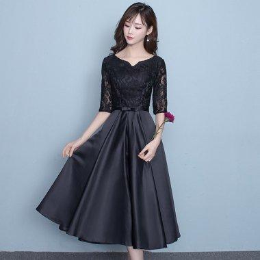 結婚式や二次会に レースドッキングが上品かわいいブラックロングドレス ワンピース