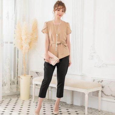 お呼ばれやフォーマルに リボンペプラムが上品かわいい半袖パンツドレス セットアップ 3色