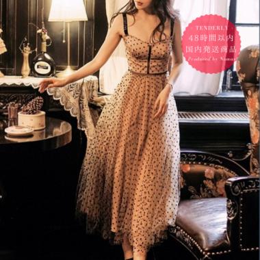 【即納】パーティーや衣装に チュールスカートがガーリーなドット柄のキャミソールワンピース
