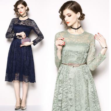 人気の海外デザイン エレガントな総レースの長袖フレアワンピース ドレス 3色