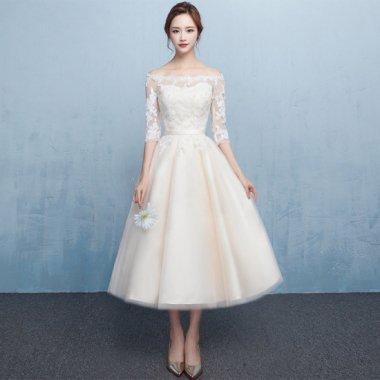 【即納】レース ドレス  結婚式 花嫁 二次会 ミモレ丈 オフショルダー 七分袖Sサイズ