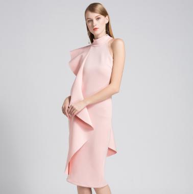 個性的でエレガントな海外デザイン アシンメトリーなワンショルダーの膝丈ドレス