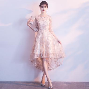 人気の海外デザイン 大人ガーリーな刺繍レースのフィッシュテールフレアドレス 3色
