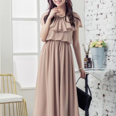 お呼ばれドレスにおすすめ 上品かわいいギャザーシフォンのフレアロングワンピース 5色