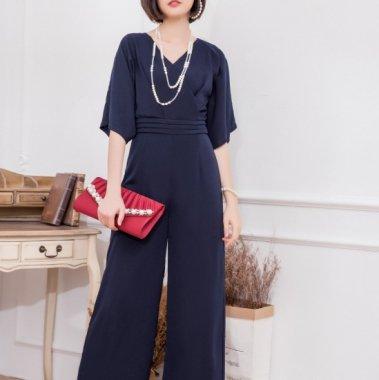 結婚式や二次会に 美シルエットにきまるワイドパンツのマキシ丈オールインワン パンツドレス 3色