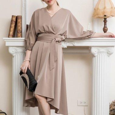 結婚式や二次会に 上品かわいいマーメイドスカートの袖ありミディアムワンピース 3色
