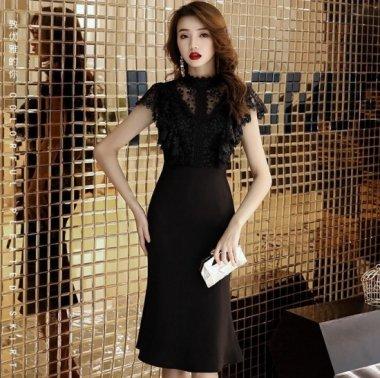 小花柄黒レースが上品かわいい異素材MIXの膝丈タイトワンピース ドレス