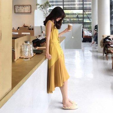 個性的でかわいい海外デザイン きれいめバイカラーのドッキングワンピース 3色