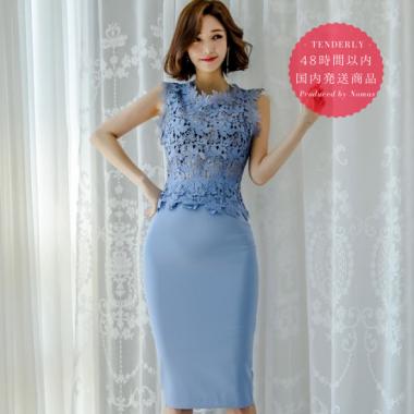 【即納】花柄レースの透け見せがセクシーでかわいい上品ブルーのタイトスカートセットアップ