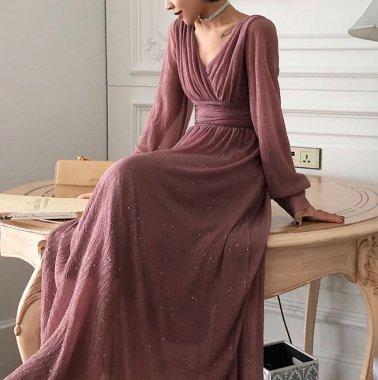 演奏会や発表会にもおすすめ 大人かわいいラメ入りカシュクールの長袖ロングワンピース ドレス 3色