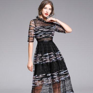 個性的でおしゃれな海外デザイン エレガントなシースルーの袖ありロングドレス パーティードレス