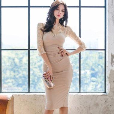 人気の海外デザイン 上品セクシーな透けレースのタイトワンピース ドレス 2色