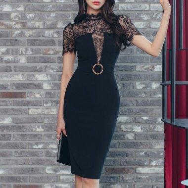 人気の海外デザイン 大胆カットの透け見せレースがセクシーなタイトドレス ワンピース