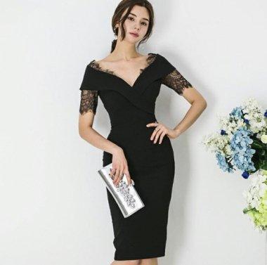 人気の海外デザイン 上品かわいいチラ見せレースの膝丈ワンピース ドレス