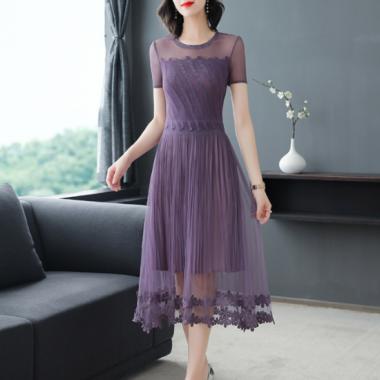 人気の海外デザイン 上品かわいいシースルーレースの花柄フレアワンピース ドレス
