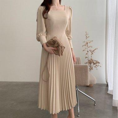 人気の海外デザイン 大人かわいいプリーツスカートのきれいめロングワンピース 2色