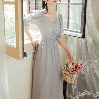 人気の海外デザイン 清楚ガーリーなパフスリーブのシフォンロングドレス