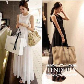 シースルーノースリーブ マキシサマードレス ワンピース 白/黒