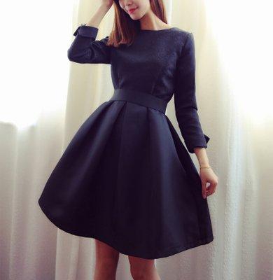 d66ece099b75f フォーマルシーンにもオススメな上品フレアドレスワンピース 黒 - 韓国プチプラパーティードレス通販『TENDERLY DRESS』