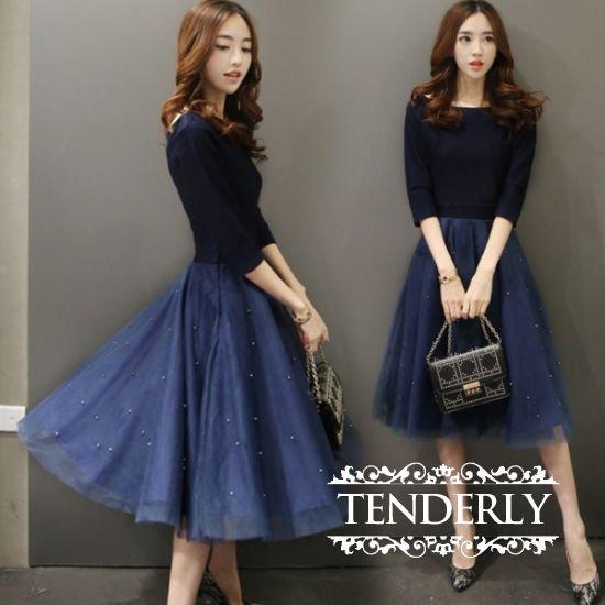 チュールスカートが可愛いミモレ丈ドッキングワンピース 青/紺色 - 韓国プチプラパーティードレス通販『TENDERLY DRESS』